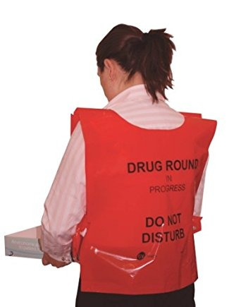 Red Disposable Tabard 'Drug round in progress DND'