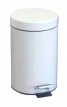 Metal Pedal Bin 3 Ltr White with Plastic Liner