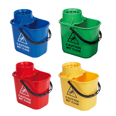 Blue Bucket and Wringer with wet floor warning sign